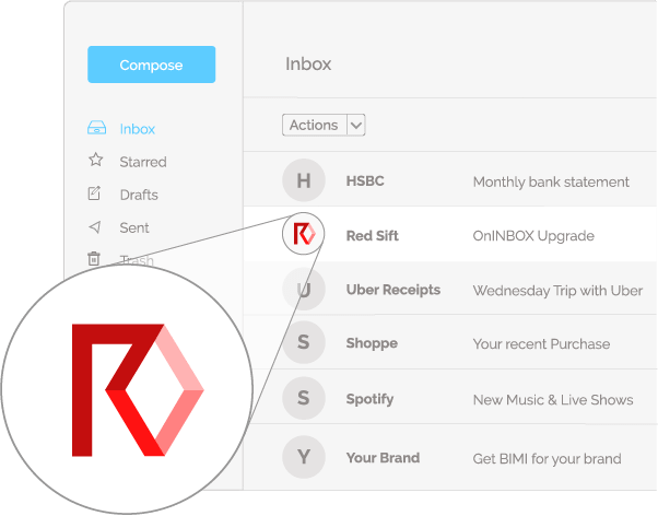 Image of Brand Email Indicators in an email client